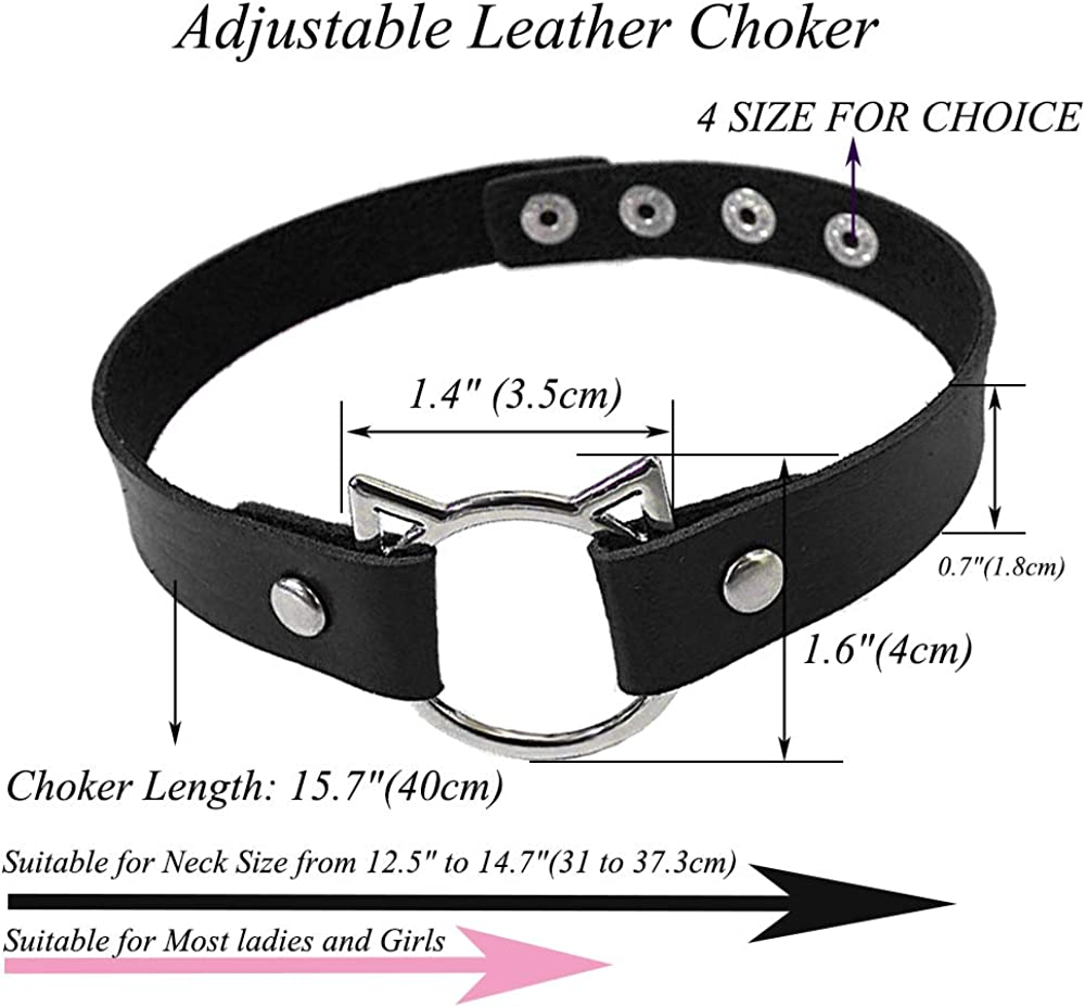 ETHOON Adjustable Leather Choker Collar Soft PU Cat Punk Choker Necklace for Women Girls