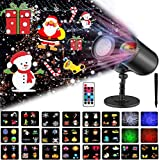 Ocean Wave Christmas Projector Lights,16 Slides 2 in 1 Moving Pattern Projection Lights Landscape Lights Waterproof Outdoor Indoor for...