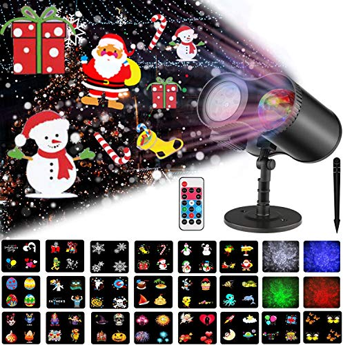 Ocean Wave Christmas Projector Lights,16 Slides 2 in 1 Moving Pattern Projection Lights Landscape Lights Waterproof Outdoor Indoor for Holidays Halloween Parties Decoration