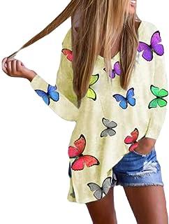 GUOCAI Womens Long Sleeve Print V Neck Tops Slit T-shirt Blouse