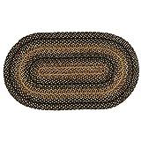 IHF Home Decor Jute Braided Rug | Oval Indoor Outdoor Area Carpet | Black, Tan Floor Hand Woven | Ebony Design Natural Doormat - 20
