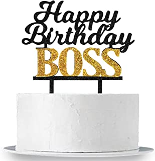 INNORU Happy Birthday Boss Cake Topper, Glitter Acrylic Baby Girl Boy 1st Birthday Cake Topper,Kid's and Adults Birthday Party Decoration Supplies, Double Color
