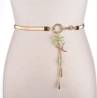 SGJFZD Women's Belt Fashionable Wild Elastic Stretch Rhinestone Flower Belt Waist Chain with Dress Pants Belt Tide (Color : Green, Size : 62cm)