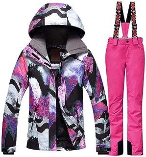 Traje de esquí JSGJHXFFashion Colorido GS Mujeres Traje de Nieve Conjuntos de Deportes al Aire Libre Ropa de Snowboard 10K Impermeable a Prueba de Viento Chaqueta de esquí y pantalón de Nieve