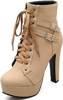 Celnepho - Botas de tobillo para mujer con plataforma de tacón alto y cordones, puntera redonda, para caballero, otoño, in...
