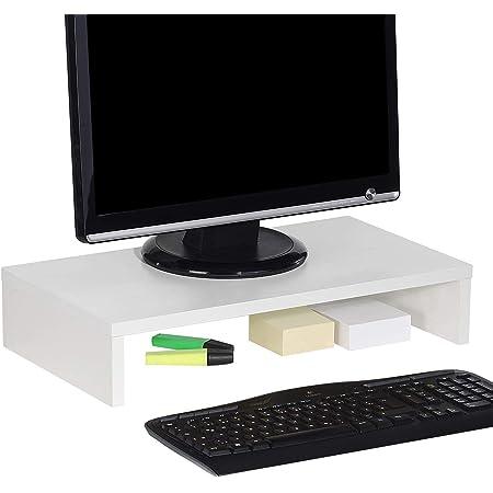 IDIMEX Support d'écran d'ordinateur Monitor, réhausseur pour Moniteur avec Tablette de séparation Dimensions 50 x 10 x 27 cm, en mélaminé Blanc Mat