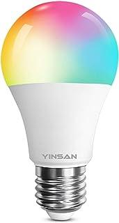 YINSAN Lampadina Wifi Intelligente E27 Smart Dimmerabile 9W 850Lm Multicolore Lampadina,Controllo Remoto Gruppi Vocali,Lav...
