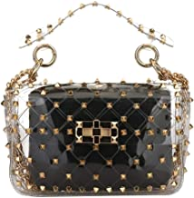 2 in 1 Clear Tote Bag Women's Waterproof Studded Clear Shoulder Handbags Transparent Purse PVC Bag