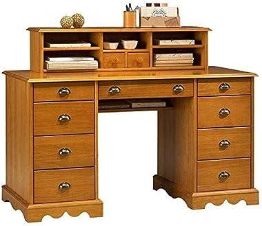 ACTUAL DIFFUSION Windsor Grand Bureau avec Réhausse Pin Massif Miel, 58,3x137,5x99 cm