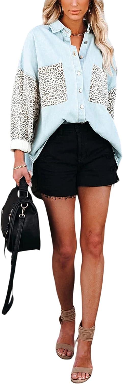 Leopard Print Jean Jacket Women Denim Casual patchwork shacket Oversized Long Sleeve Button Up Pockets Shirt Coat