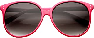 zeroUV Women's Retro P3 Round Metal Rivet Horn Rimmed Sunglasses