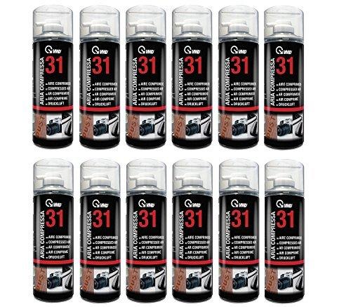 Aria compressa spray per pulizie, contro la polvere, modello 17231, 12 lattine da 400ml, senza clorofluorocarburi