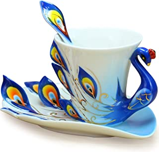 Glodeals (TM) Hand Crafted Porcelain Enamel Delicate Peacock Tea Coffee Cup Set with Saucer and Spoon (Blue)
