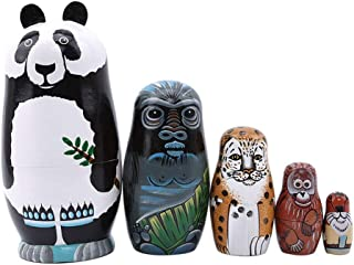 Coppthinktu 5pcs Russian Nesting Dolls Authentic Matryoshka Wooden Russian Dolls Hand Painted Animals Pattern Nesting Doll for Birthday Mother's Day Christmas New Year Gift Kids Toy