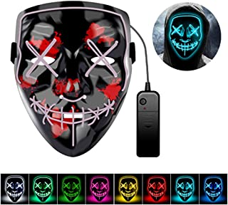 Halloween Purge Mask LED Light Up Scary Masks Halloween Cosplay Costume for Festival Parties