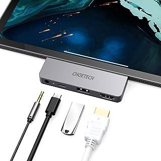 Hub USB C per iPad Pro 2018, CHOETECH 4 in 1 tipo C a 4K60HZ HDMI con USB-C PD 60W, USB 2.0, uscita audio 3,5 mm per iPad ...