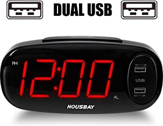 """Bedrooms Alarm Clock with USB Charger - Dual Front USB Ports 6.5""""Easy to Read Large LED Display with Dimmer Outlets Powered Bedside Clock for Home Hotel"""
