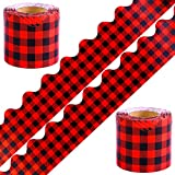 Elcoho 2 Rolls Buffalo Plaid Bulletin Board Border Red and Black Check Plaid Border Trim for Classroom Decoration, 131.2 feet in Total