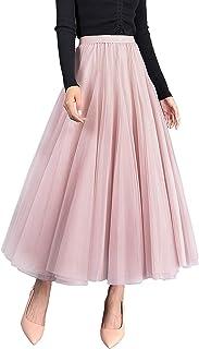 WANGSAURA Damen Langer Tüllrock A Linie Tüll Röcke Einheitsgröße Elegante Hochzeit Tutu Maxiröcke
