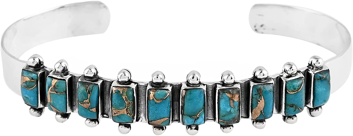Shop LC Santa Fe Style 925 Turquoise B Sterling Blue Silver Japan Maker Award New Cuff
