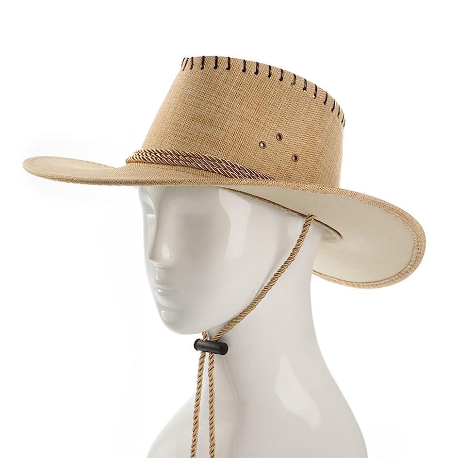 ただやる説明ベンチャーカウボーイ日曜日の帽子、人の夏の屋外の登山の涼しい帽子の折るバイザーの帽子の大きいひさしのビーチ帽子のあごバンド