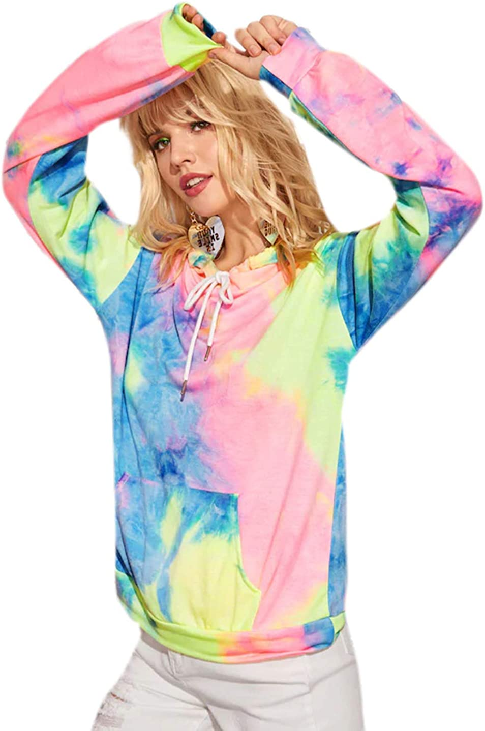 Romwe Women's Long Sleeve Tie Dye Drawstring Front Hoodies Kangaroo Pocket Sweatshirt