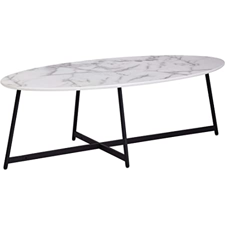 Finebuy Design Coffee Table Oval 120 X 60 Cm With Marble Look White Living Room Table With Metal Legs Black Large Side Table Amazon De Kuche Haushalt