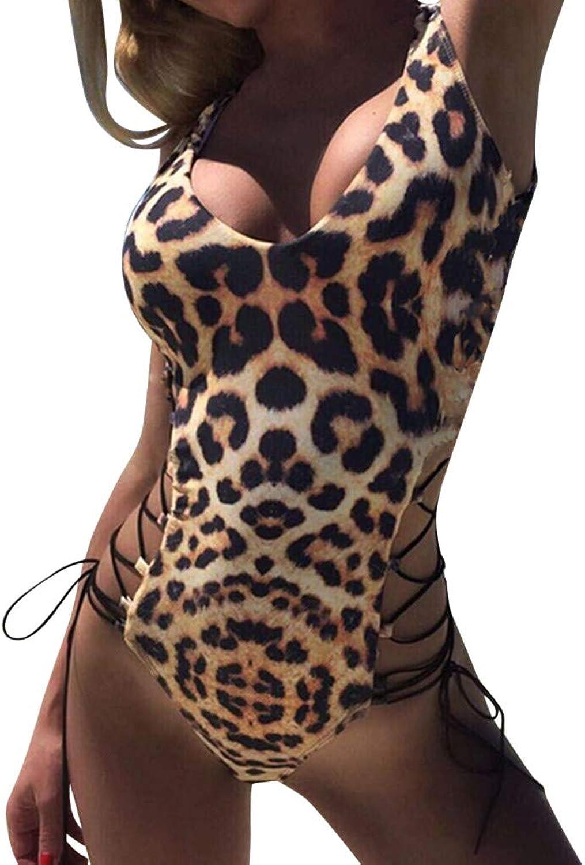 ZLTBN Bikinis Beach Sex Lady damen Urlaub Leopardenmuster gebundenen Rücken Badeanzug Frauen Badeanzug B07QPCXC2B  Karamell, sanft