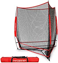 PowerNet Triple Threat Baseball Training Net | 3 Way 7' x 7' Batting or Pitching Net Covers 147 Square Feet | Pitch or Hit Into Net Train Multiple Stations at Once | Player Stand in (Red)