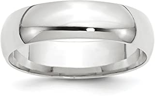 14k White Gold 6mm Comfort Fit Wedding Ring Band Size 9 Classic Fine Jewelry Gifts For Women For Her