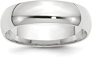 Solid 10k White Gold 6mm Comfort Fit Wedding Band