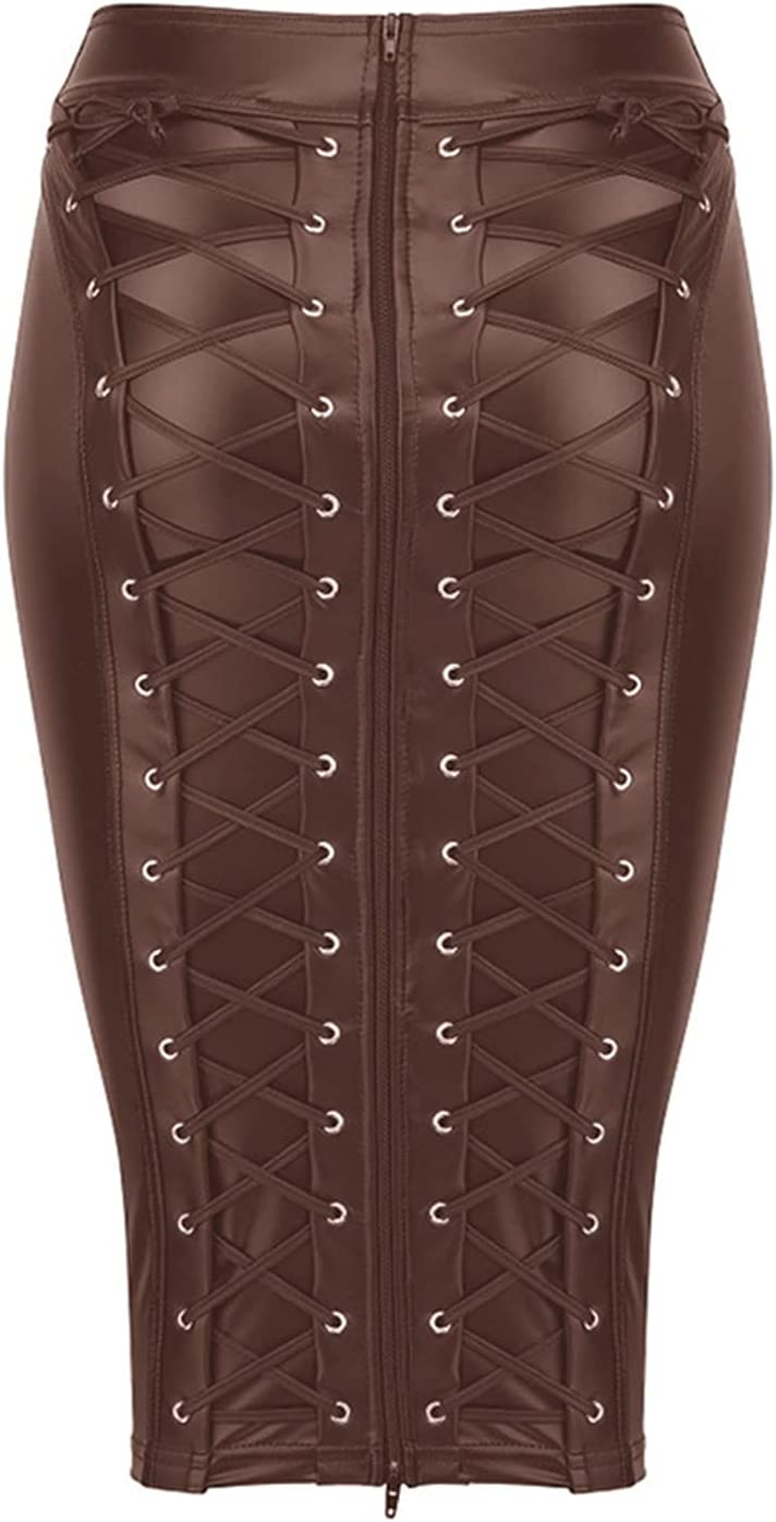 Womens Knee Length Wet Look Plus Size Black PU Leather Skirt Back Lace Up Zipper Bandage Leather Skirts Ladies High Waist (Color : Brown, Size : M.)