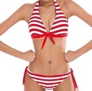 FSSE Women Halter 2 PCS Swimwear Triangle-Bottom Stripe Sexy Bikini Sets Bathingsuits