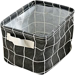 YOUJIA Storage Box Fabric Basket Collapsible Burlap Toy Storage Bins Organizer for Kid s Room Toy  Dogs Toys  Blouse T-shirt Underwear etc with Handles  Black  Checkered  13CM