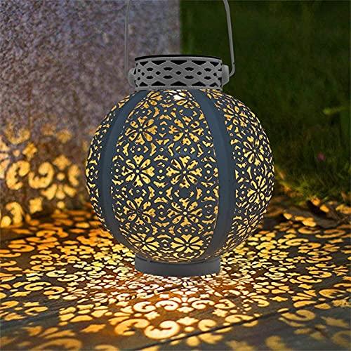 XLLQYY Linterna solar retro linterna hueca lámpara solar lámpara led lámpara lámpara de mano proyector jardín lámpara impermeable al aire libre césped paisajeSolar jardín luz (estilo1)