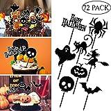 PRETYZOOM 72 Pezzi I Toppers del Bigné del Partito di Halloween Selezionano Le Decorazioni Toppers Cupcake Muffin per Festa di Halloween Forniture Festa a Tema