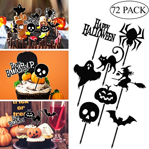 Amosfun 72Pcs Halloween Cupcake Toppers (Black)