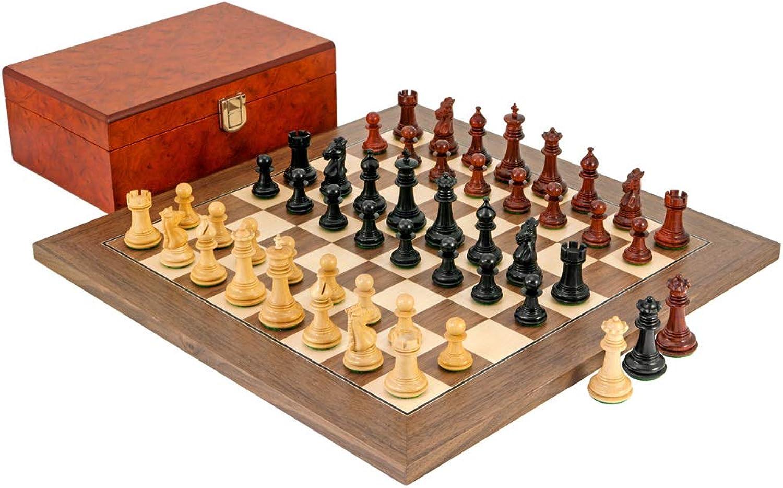 Madrid Tres Cgoldne Ebony, Padouk and Walnut Chess Set