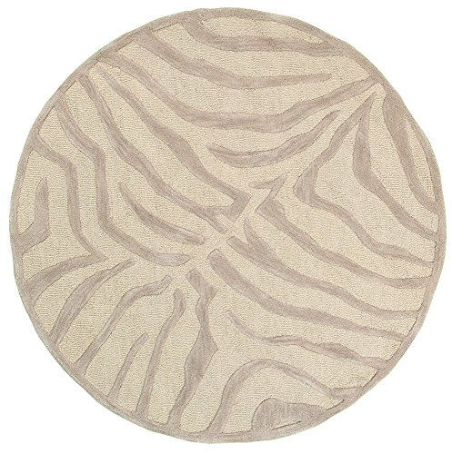 Trade AM Fashion Round Abstract Area Rug, 3 by 3-Feet, Taupe/Silver