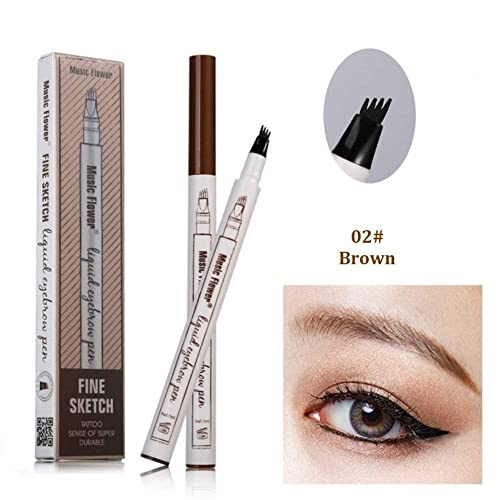 d212107bad8 Tattoo Eyebrow Pen with Four Tips Long-lasting Waterproof Brow Gel and Tint  Dye Cream