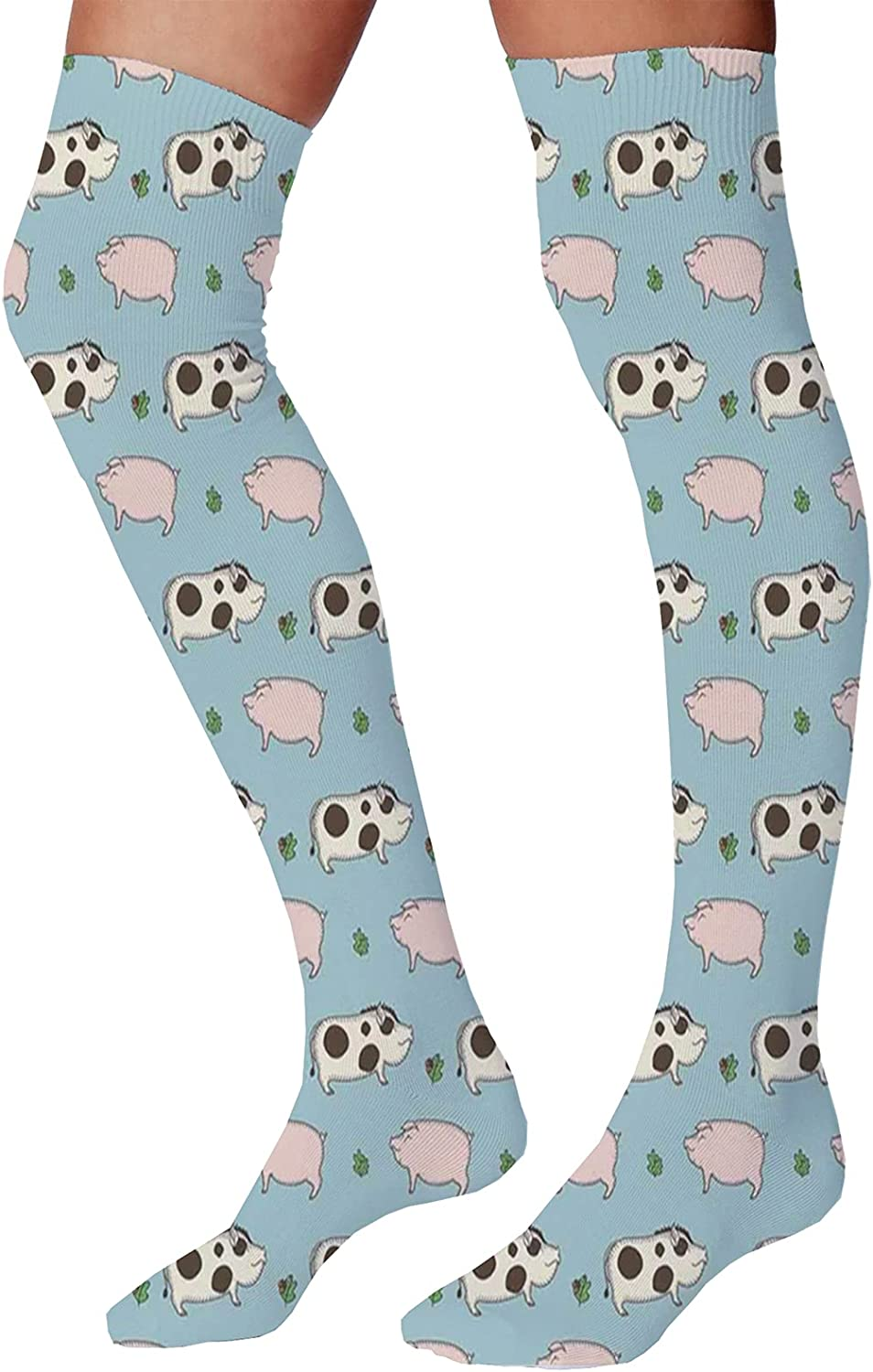 Unisex Dress Cool Colorful Fancy Novelty Funny Casual Combed Cotton Crew SocksDoodle Pattern with Pig Boar and Oak Twig Figures on Blue Background in Cartoon Style