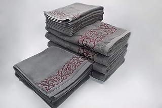 ENSO KENAF Bath Bundle (4 Bath Towel, 4 Hand Towel, 2 Bath Mat) - 600 gsm (Charcoal/Red)