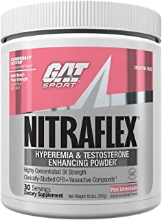 GAT - NITRAFLEX - Testosterone Boosting Powder, Increases Blood Flow, Boosts Strength and Energy, Improves Exercise Performance, Creatine-Free (Pink Lemonade, 30 Servings)