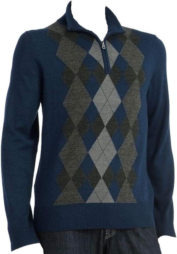 Liz Claiborne's Apt 9 Men's Argyle Merino Wool Blend Sweater 1/4-Zip Deep Blue