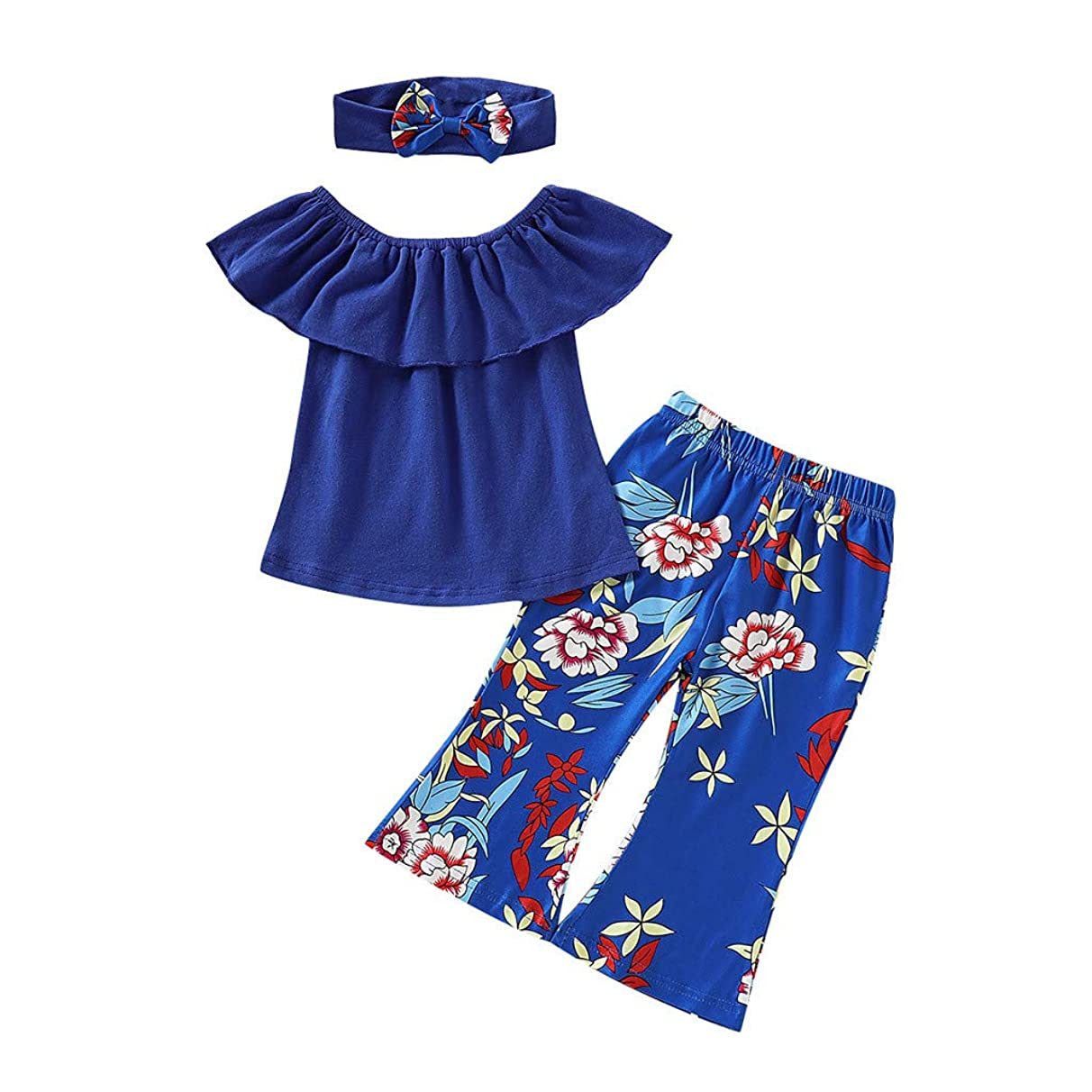 ?Ywoow? Baby Clothes Set, Toddler Baby Girls Off Shoulder Solid Tops+Floral Print Pants+Headband Outfits