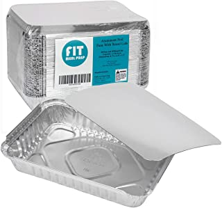 Rectangular 1.5 lb 24 oz 8.75 x 6.25 x 1.5 Disposable Aluminum Foil Pan Take Out Food Containers with Flat Board Lids, Hot Cold Freezer Oven Safe [50 Pack]