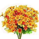 Turelifes Lot de 4 Bouquets de Fleurs artificielles Mini Marguerites 7 Branches 28 têtes Florales en Soie pour Bureau, Maison, décoration de Mariage