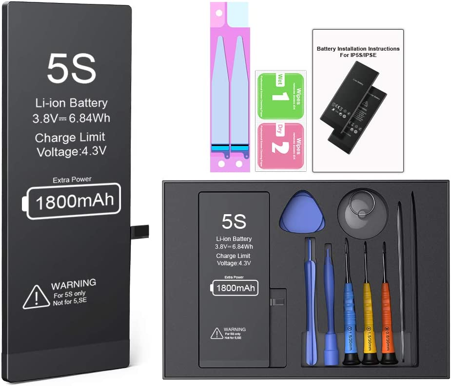 1800mAh High Capacity Battery Replacement Kit with Remove Tool Kit Battery for iPhone 5s