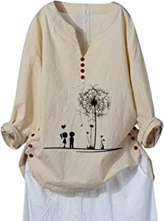 Women Shirts Plus Size Long Sleeve V-Neck Printed Cotton and Linen Tops Casual Blouse Loose Comfy Tunic