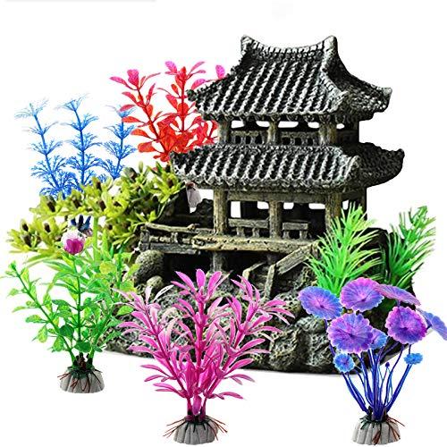 ODOOKON Ornamente für Aquarien Altes Gebäude im orientalischen Stil, Aquarium Deko Aqua Ornaments Dekoration Fuer Fisch Tank Kunststoff Dekor, 16x15x10cm, 5 dekorative künstliche Wasserpflanzen